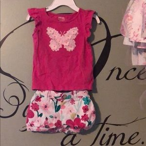 Gymboree floral print shorts w matching top 12-18M